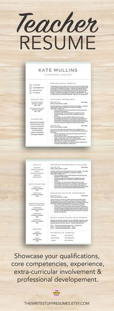 Neat Teacher Resume Template + Cover Letter + References - resumes for teachers