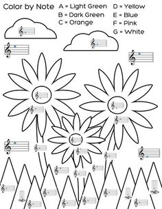 Welcome spring with this color by note flower worksheet. An easy way to kill time while students wait for their lesson. You can find this freebie on Mrs. Q's Music Blog #teach #piano