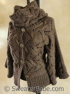 Kimono Sleeve Sideways Cardigan and Cowl Set pattern by SweaterBabe - looks so much better with the removable cowl, I wonder how hard it would be to knit the cowl on as a collar? #SweaterBabe.com #knitting