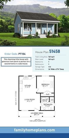 Tiny House Plan 51458 Total Living Area 561 SQ FT 1 bedroom and 1 bathroom This charming little house with generous front porch is perfect for a second home or a lake ho. Small House Floor Plans, Family House Plans, 1 Bedroom House Plans, Guest House Plans, Tiny Cottage Floor Plans, Small House Plans Under 1000 Sq Ft, Small Home Plans, Guest Cottage Plans, Tiny Cabin Plans