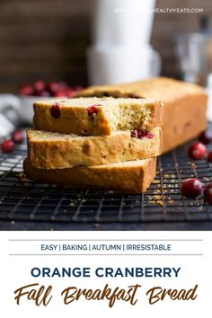 Fall season is here - including fall food! This Moist Orange Cranberry Bread is made with fresh cranberries and fresh orange juice, and is the perfect recipe for fall. It's so easy to make and is perfect for a snack or breakfast. Peek inside to get this irresistible bread recipe! #fallrecipes #fallbakingrecipes Breakfast Cookies, Breakfast Dessert, Breakfast For Dinner, Best Homemade Bread Recipe, Cranberry Orange Bread, Fresh Cranberries, Fall Baking, Healthy Eating Recipes, Fall Food