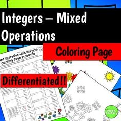 Mixed Operations with Integers Coloring Page: Integer practice made fun!This is a 2-pack, differentiated coloring activity for middle school students to practice adding, subtracting, multiplying, and dividing integers.  Both levels include negatives and word problems.To use this activity each student will need a coloring page and a problem page.