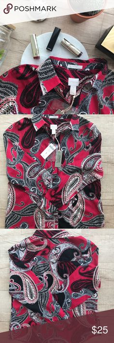 """Chico's Effortless Chic Paisley Caroline Shirt * red, black, & white  * paisley print  * bust (laid flat, on one side) - 21"""" * length - 26"""" * 100% Cotton  * BRAND NEW WITH TAGS Chico's Tops Button Down Shirts"""