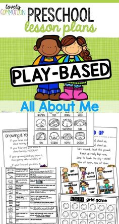 All About Me thematic unit is the perfect unit for the beginning of the year! Be prepared by using this Play-based Lesson Plan pack for your preschool classroom! Pre K Lesson Plans, Preschool Lesson Plans, Preschool Curriculum, Preschool Classroom, Preschool Ideas, Classroom Ideas, Preschool Boards, Preschool Writing, Preschool Learning