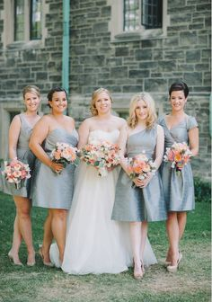 gray bridesmaid dresses by Alfred Sung from White Toronto