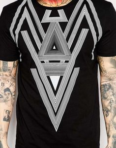 Image 3 of ASOS T-Shirt With Triangle Print And Relaxed Skater Fit