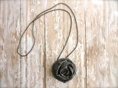 Fabric Flower Necklace in Baltic Grey on chain. by amblebee