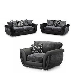 The Shannon Faux Leather and Fabric Sofa Set is a strong, sturdy set of living room furniture that adds a modern, contemporary feel to your surroundings Black And Grey Sofa, Gray Sofa, Faux Leather Fabric, Fabric Sofa, Sofa Set, Recliner, Living Room Furniture, Couch, Contemporary