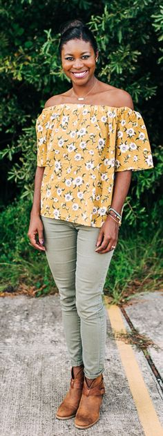 Cold shoulder yellow floral top, olive jeans, distressed booties | SidelineSocialite.com
