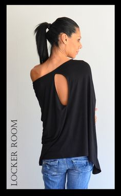 Loose soft top / Maxi black tunic / Asymmetric shirt /Black Loose Shirt by ClothesByLockerRoom on Etsy