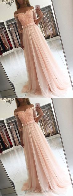 Pretty pink off the shoulder gown with lace and tulle. #eveningdresses #promdresseslong