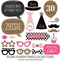 Chic Pink, Black and Gold - 30th Birthday - 20 Piece Photo Booth Props Kit | BigDotOfHappiness.com