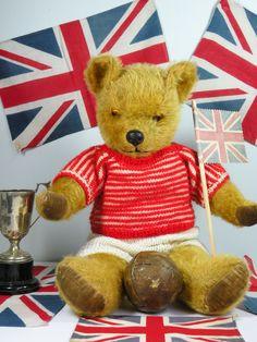 Bobby a cute Pedigree bear C1950 who loves to play football  www.onceuponatimebears.co.uk