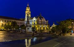 City hall of Pécs by summer blue hour Blue Hour, San Francisco Ferry, Mansions, House Styles, City, Building, Summer, Photos, Travel