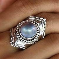 Faithful in Blue Elongated Bohemian Design Irridescent Mabe Pearl Bezel Set in 925 Sterling Silver Cocktail Ring (Indonesia) Pearl Jewelry, Boho Jewelry, Silver Jewelry, Vintage Jewelry, Silver Rings, Diamond Jewelry, Jewelry Trends, Jewelry Necklaces, Pearl Bracelets