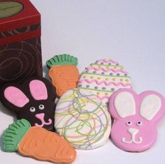 Easter Egg Cookies, Easter Bunny cookies and Carrot Shaped Cookies great for Easter Gifts!