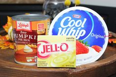 Best Pumpkin Dip Ever! 1 box of vanilla pudding mix, 1 tub of cool whip, and 1 14.5 ounce can of pumpkin pie mix. Serve with graham crackers. YUMMY!
