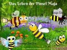 Vorhang auf für die Hauptdarsteller von »Das Leben der Pinsel Maja« :-), aus dem Märchenbuch »Fantasy Land«. PINSEL MAJA die geheimnisvolle Biene. Der BIENENENGEL SUM SUM als Beschützer für die Erdenbienen; BIENE TERRA die Ermittlerin; KÖINIGIN SELDA die Chefin des Bienenstocks; SPACHTELBIENE der Schicksalsfreund von Pinsel Maja;
