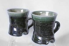 "Van Dop Gallery | Artists | Ceramic: ""Green Mugs"" by Celia Rice-Jones Green Mugs, International Artist, Home Decor Items, Garden Art, Unique Gifts, Arts And Crafts, Rice, Van, Entertaining"