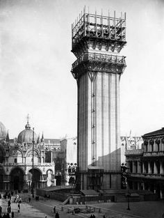 "After the collapse of Campanile di San Marco on July 14 1902 the city quickly decided to start with the reconstruction: ""Dov'era e com'era"" (= where it stood and like it was). The reconstruction was finished in 1912, so the reconstructed bell-tower now is 100 years old."