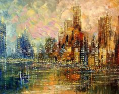 Items similar to Cityscape palette knife original painting skyline urban city zen fall colors autumn CHICAGO SHORE by Tatiana Iliina - Made to order on Etsy Skyline Painting, City Painting, Cityscape Art, Skyline Image, Urban City, Foto Pose, Palette Knife, Artist Art, Art Techniques