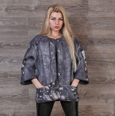 Верхняя одежда ручной работы. Валяная куртка «Туманная роза». Ермоленко Светлана. Интернет-магазин Ярмарка Мастеров. Валяная куртка