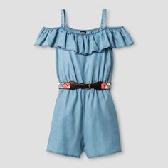 Girls' Zenzi Ruffle Neck Cold Shoulder Tencel Romper with Aztec Print Faux Leather Belt - Blue 12