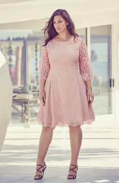 Free shipping and returns on Eliza J Side Pleat Lace Fit & Flare Dress (Plus Size) at Nordstrom.com. Pleats releasing at each hip create extra sashay-worthy swing for a lovely floral-lace dress designed for an ultrafeminine look with sheerness and eyelash-fringe at the sleeves.