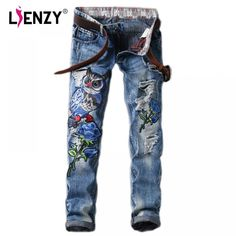 2018 Fashion Owl Flower Embroidery Jeans Women Washed Ripped Jeans Plus  Size Jeans Pant f034ed3d8337