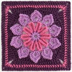 This pattern is available as a free Ravelry download  Ten petals, simple transitions and just challenging enough to be interesting…This 9 inch square was made using Red Heart Super Saver (Lilac, Dark Plum and Light Raspberry) worsted weight yarn and a size H hook. Super tester, Muffetsmom, used Red Heart Holiday and a size G hook for her 9 inch square. Your size will vary depending upon your yarn, hook and tension.