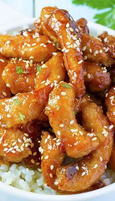 Honey Sesame Chicken is quick and easy recipe for weeknight dinner Chicken breast strips with sweet and spicy sauce and toasted sesame seeds, served over rice makes a delicious meal for your family - food_drink I Love Food, Good Food, Yummy Food, Honey Sesame Chicken, Honey Chicken Recipes, Honey Sauce For Chicken, Easy Chinese Chicken Recipes, Chinese Honey Chicken, Chinese Recipes