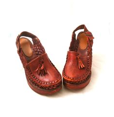 Clogs Wood Heels Split Platform Wedge Oxblood Braided Weaved Leather,  Close Toe Clogs Ankle Strap Made Boho Size 8M 39 by AintWeSwank on Etsy