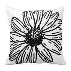 Trending modern Gerber Daisy in black and white Throw Pillow