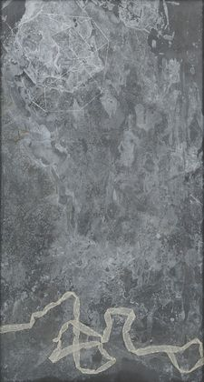 """""""A.D."""" 1989 Chalk and entrails on treated lead 95.125 x 51.875 x 1.625 in (243.1 x 131.8 x 4.2 cm) including steel frame MoMA"""
