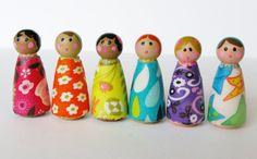 Beautiful Rainbow Peg Dolls