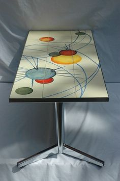 Vintage Retro Mid Century Atomic Chrome Tile Topped Coffee Table - London SW17