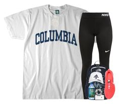 """first game tmrw!!"" by kate-elizabethh ❤ liked on Polyvore featuring Columbia, NIKE, The North Face, adidas, Jennifer Zeuner, Fitbit and H&M"