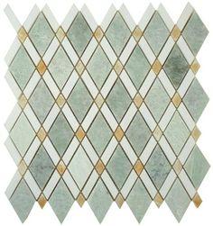 My Tile Backsplash - Diamond Series Marble Tile Mosaic Ming Green Thassos White Honey Onyx, $28.62 (http://www.mytilebacksplash.com/diamond-ds-58/)