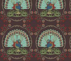 Peacock green fabric by thirdhalfstudios on Spoonflower - custom fabric, wallpaper & giftwrap