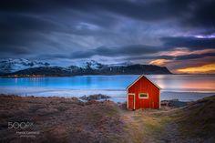 Red Shack Rambergstranda beach - This is a little red shack on Rambergstranda Beach. Lofoten Islands, Norway.