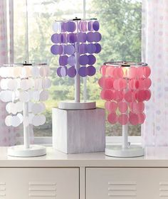 Colorful Chandelier Accent Table Lamp Teen Tween Girls Bed Room Dorm Home Decor