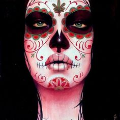 Image detail for -. by Outi Pyy :::: DIY La Catrina Day of the Dead Halloween costume Sugar Skull Mädchen, Sugar Skull Makeup, Maquillage Sugar Skull, Sylvia Ji, Los Muertos Tattoo, Art Halloween, Halloween Alley, Halloween Parade, Halloween Poster