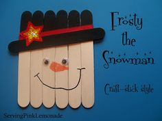 Frosty the Snowman using popsticks can also be used as a scarecrow for fall