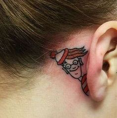 Where's Waldo Ear Tattoo. I doubt I'd ever get this, but there's no denying that it is a really cute idea! :)