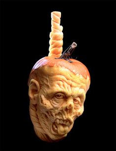 If you like Zombies for Halloween, it can be a challenge to carve a Jack-O-Lantern worthy of the name. Here is how to make How To Make a Zombie Pumpkin. Awesome Pumpkin Carvings, Pumkin Carving, Scary Pumpkin, Pumpkin Art, Best Pumpkin, Pumpkin Faces, Food Carving, Pumpkin Head, Holidays Halloween