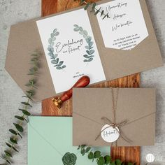 FAIR Sustainable eucalyptus wedding invitation in pocketfold format – our popular wedding invitation i Homemade Wedding Invitations, Birthday Invitations, Craft Wedding, Diy Wedding, Wedding Icon, Diy Paper, Paper Crafts, Sustainable Wedding, Family Print