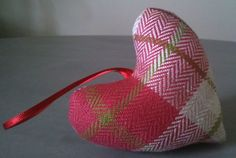red/green tweed heart with ribbon by thebluehouseireland on Etsy