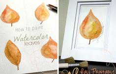 free fall art printable, free fall printable, free fall watercolor leaf printable