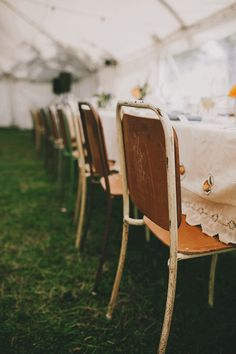 Wooden Chair with Antique table cloth