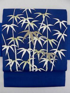 Navy Shioze Nagoya Obi, Bamboo Grass Pattern / 紺塩瀬地 笹竹のお太鼓柄 名古屋帯  【リサイクル着物・アンティーク着物・帯の専門店 あい山本屋】#Kimono #Japan